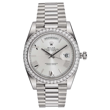 Rolex President Day-Date 18kt White Gold Men's Silver Dial Automatic Watch