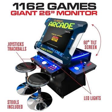3 Sided 2 Player 1162 Cocktail Arcade Machine with 26
