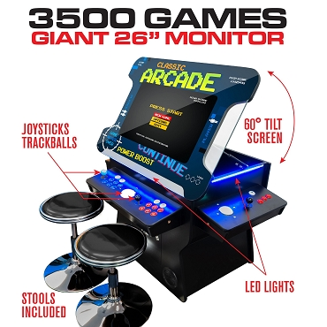 3 Sided 2 Player 3500 Cocktail Arcade Machine with 26