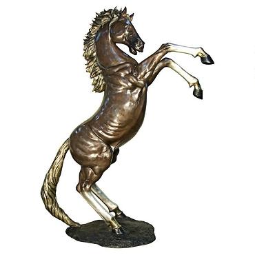 Majestic Spirit, Rearing Horse Cast Bronze Garden Statue: (Right)