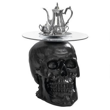 Lost Souls Gothic Skull Glass-Topped Table Color (black)