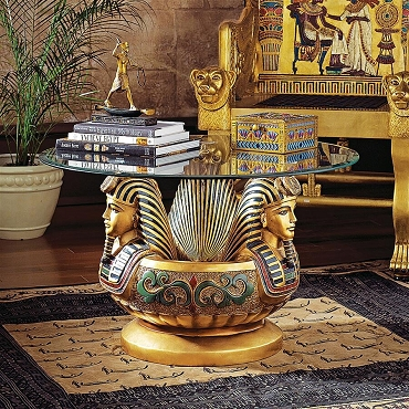 Three Heads of Tutankhamen Sculptural Glass-Topped Table