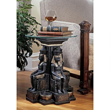 Ramses II Egyptian Sculptural Glass-Topped Table (SET of 2 tables)