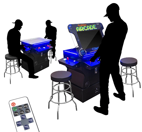 "2 Player 3 Sided 32"" 4500 Games In One - Tilt-Screen Cocktail Arcade with Base Riser 
