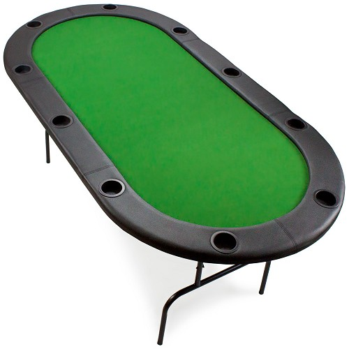 "Poker Table Full Size 10 Player Metal Frame Table is 82"" x 42"" and ready for any poker game."