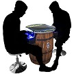 "412 Classic Games 2 Player 31.5""H Mid-Size Barrel Style Pub Table Arcade Machine with 17"" LCD Monitor and 2 Short Stools"