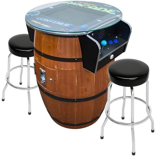 "2 Player 39""H Barrel Style Pub Table Arcade Machine with 19"" LCD Monitor and 2 Tall Stools (60 Games In One)"
