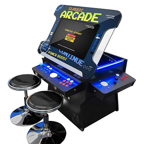 "3 Sided 2 Player 4500 Cocktail Arcade Machine with 26"" LCD Lift Monitor, Trackball and 2 Short Stools"
