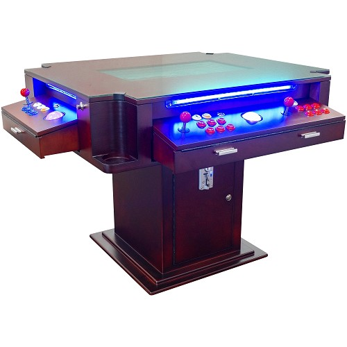 "2 PLAYER 4500 GAMES 3-SIDED ELEGANT SERIES COCKTAIL ARCADE 26"" LCD MONITOR WITH TRACKBALLS AND STOOLS INCLUDED"