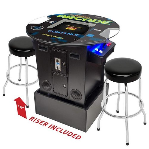 "2 Player 29""H Pub Table Arcade Machine with 19"" LCD Monitor, 2 Sanwa Joysticks and 2 Short Stools"