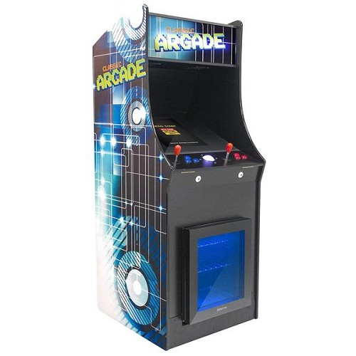 2 Player Stand Up FULL SIZE | 3500 Games | Classic Video Game Arcade with Built in Refrigerator | Trackball | Stools Included