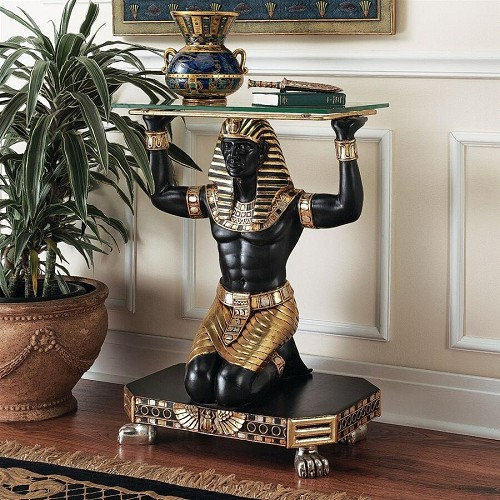 Servant to the Pharaoh Glass-Topped Console Table
