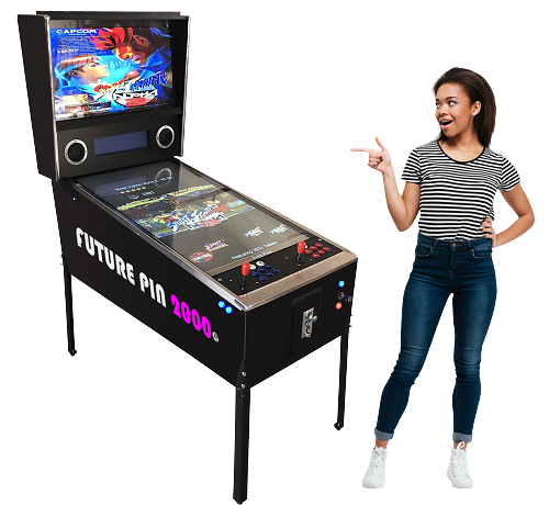 "FUTURE PIN 2000™ Virtual Pinball Machine Includes Over 2,000 Games! Large-43"" and 32"" LCD monitor! (2&1) Pinball and arcade game!"