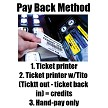 Pay-back method - Ticket printer only - Ticket printer w/tito system - Hand-Pay only