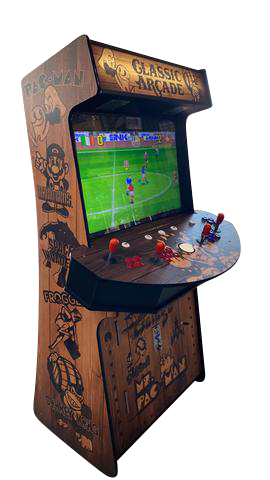 "4 Player Stand Up Slim | 4,500 Games | Wood Grain | 32"" Video Game Arcade 