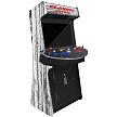 "4 Player Stand Up Slim | 4,500 Games | Old White-Wood | 32"" Video Game Arcade 