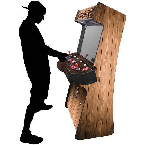 "4 Player Stand Up Slim | 3500 Games | Wood Grain | 32"" Video Game Arcade 