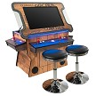 "3 Sided 2 Player 3500 Cocktail Arcade Machine with 32"" LCD Lift Monitor, Trackball and 2 Short Stools (Wood Grain)"